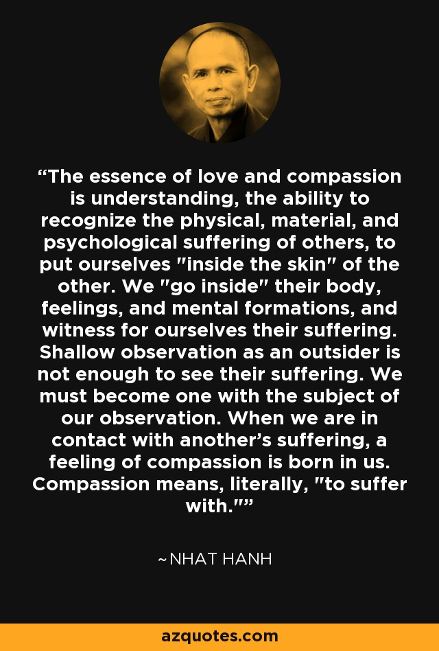 The essence of love and compassion is understanding, the ability to recognize the physical, material, and psychological suffering of others, to put ourselves