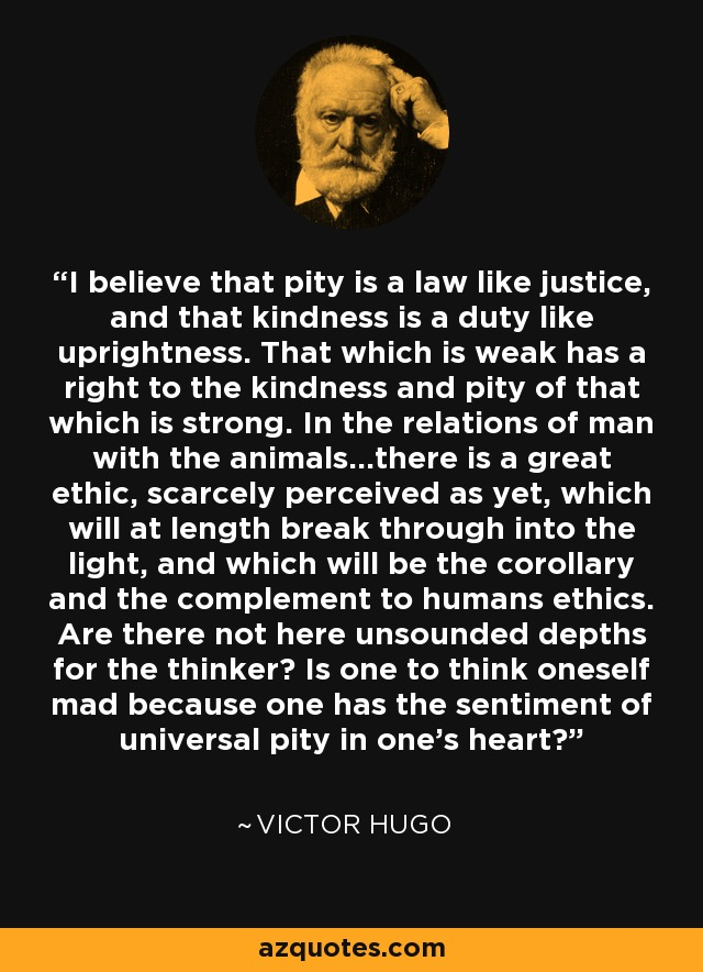 I believe that pity is a law like justice, and that kindness is a duty like uprightness. That which is weak has a right to the kindness and pity of that which is strong. In the relations of man with the animals...there is a great ethic, scarcely perceived as yet, which will at length break through into the light, and which will be the corollary and the complement to humans ethics. Are there not here unsounded depths for the thinker? Is one to think oneself mad because one has the sentiment of universal pity in one's heart? - Victor Hugo
