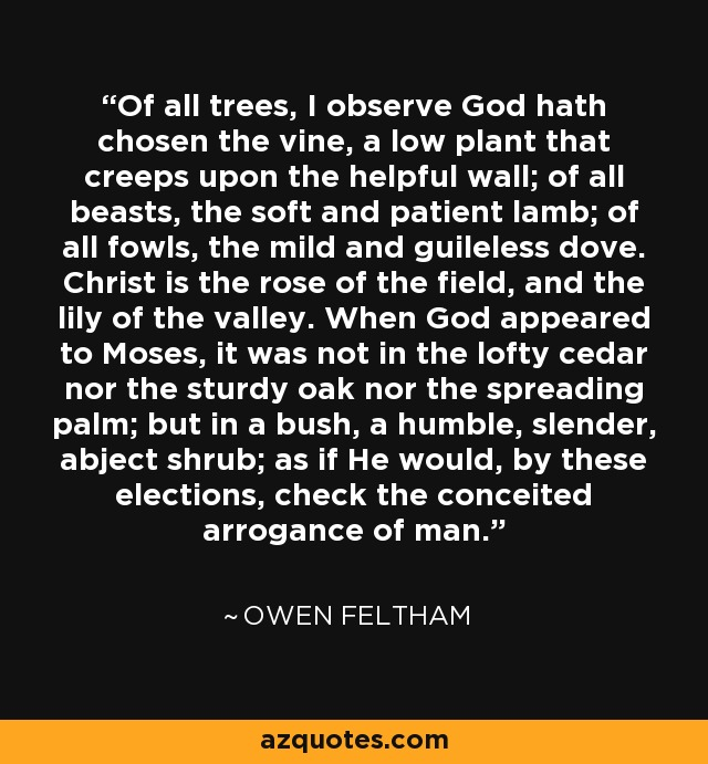 Of all trees, I observe God hath chosen the vine, a low plant that creeps upon the helpful wall; of all beasts, the soft and patient lamb; of all fowls, the mild and guileless dove. Christ is the rose of the field, and the lily of the valley. When God appeared to Moses, it was not in the lofty cedar nor the sturdy oak nor the spreading palm; but in a bush, a humble, slender, abject shrub; as if He would, by these elections, check the conceited arrogance of man. - Owen Feltham