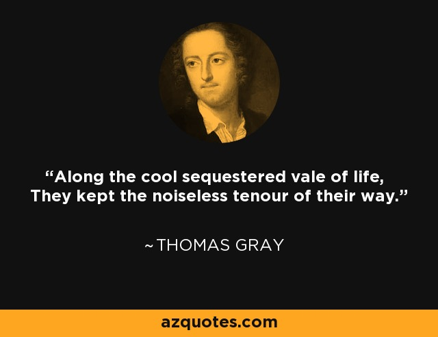 Along the cool sequestered vale of life, They kept the noiseless tenour of their way. - Thomas Gray