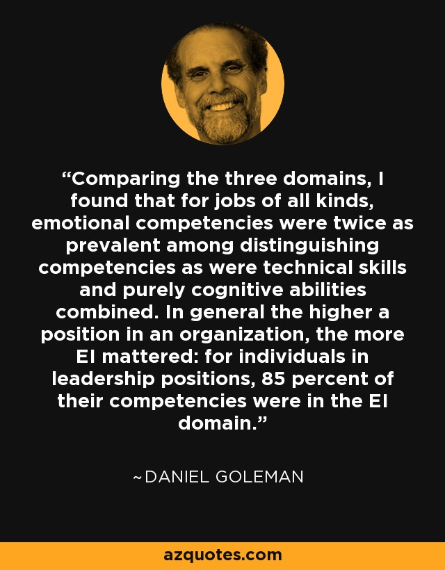 Comparing the three domains, I found that for jobs of all kinds, emotional competencies were twice as prevalent among distinguishing competencies as were technical skills and purely cognitive abilities combined. In general the higher a position in an organization, the more EI mattered: for individuals in leadership positions, 85 percent of their competencies were in the EI domain. - Daniel Goleman