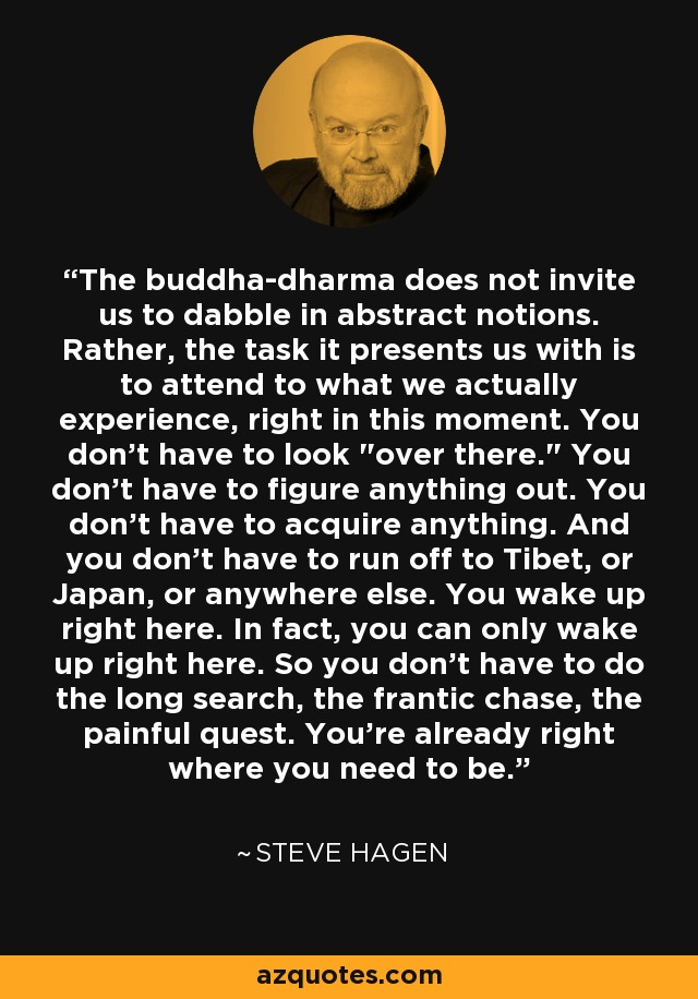 The buddha-dharma does not invite us to dabble in abstract notions. Rather, the task it presents us with is to attend to what we actually experience, right in this moment. You don't have to look