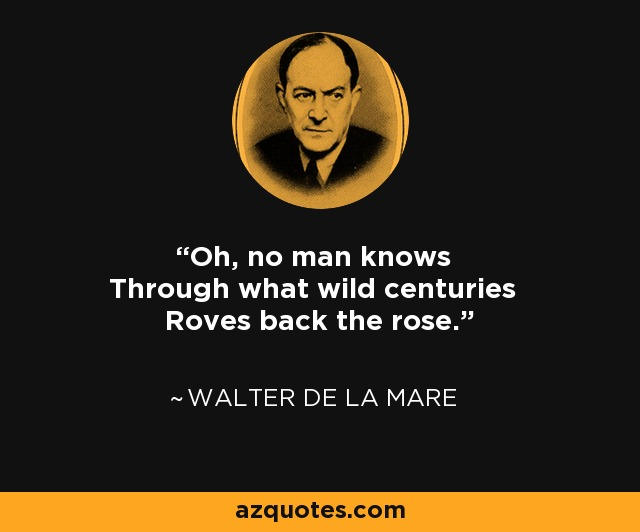 Oh, no man knows Through what wild centuries Roves back the rose. - Walter de La Mare