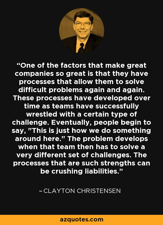 One of the factors that make great companies so great is that they have processes that allow them to solve difficult problems again and again. These processes have developed over time as teams have successfully wrestled with a certain type of challenge. Eventually, people begin to say,