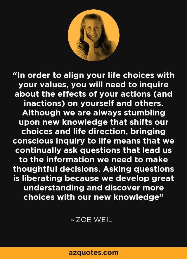 In order to align your life choices with your values, you will need to inquire about the effects of your actions (and inactions) on yourself and others. Although we are always stumbling upon new knowledge that shifts our choices and life direction, bringing conscious inquiry to life means that we continually ask questions that lead us to the information we need to make thoughtful decisions. Asking questions is liberating because we develop great understanding and discover more choices with our new knowledge - Zoe Weil