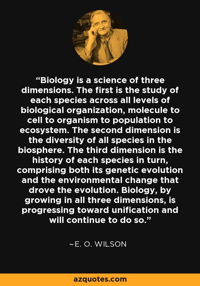 Biology is a science of three dimensions. The first is the study of each species across all levels of biological organization, molecule to cell to organism to population to ecosystem. The second dimension is the diversity of all species in the biosphere. The third dimension is the history of each species in turn, comprising both its genetic evolution and the environmental change that drove the evolution. Biology, by growing in all three dimensions, is progressing toward unification and will continue to do so. - E. O. Wilson