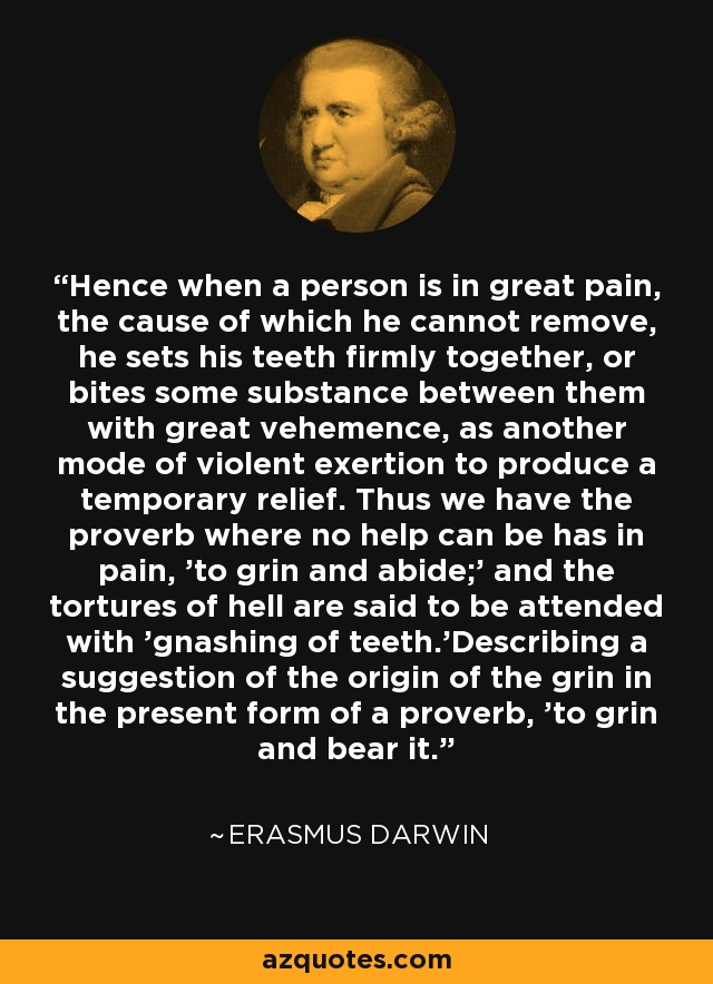 Hence when a person is in great pain, the cause of which he cannot remove, he sets his teeth firmly together, or bites some substance between them with great vehemence, as another mode of violent exertion to produce a temporary relief. Thus we have the proverb where no help can be has in pain, 'to grin and abide;' and the tortures of hell are said to be attended with 'gnashing of teeth.'Describing a suggestion of the origin of the grin in the present form of a proverb, 'to grin and bear it.' - Erasmus Darwin