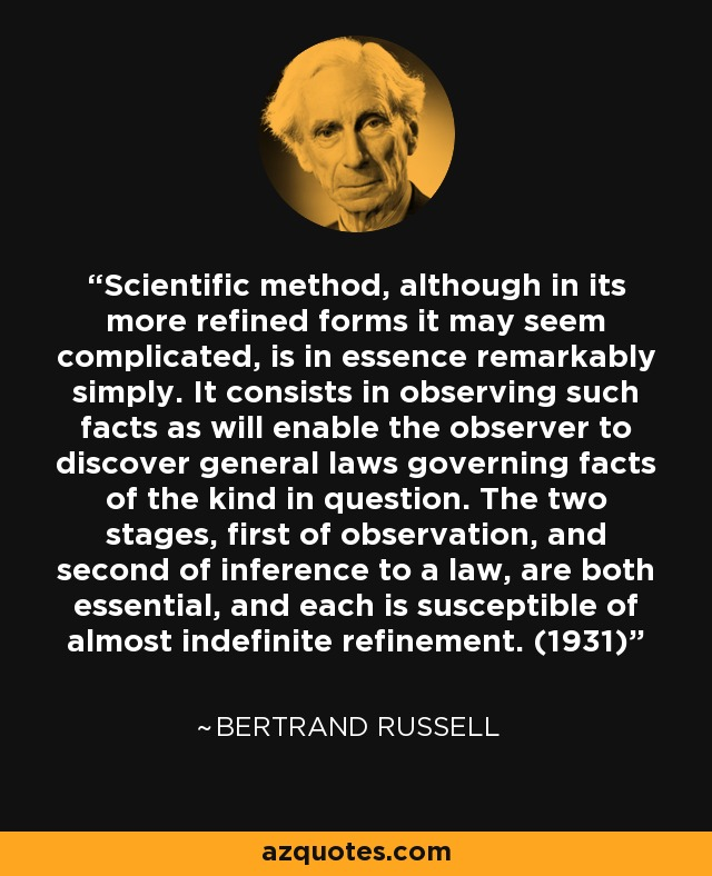 Scientific method, although in its more refined forms it may seem complicated, is in essence remarkably simply. It consists in observing such facts as will enable the observer to discover general laws governing facts of the kind in question. The two stages, first of observation, and second of inference to a law, are both essential, and each is susceptible of almost indefinite refinement. (1931) - Bertrand Russell