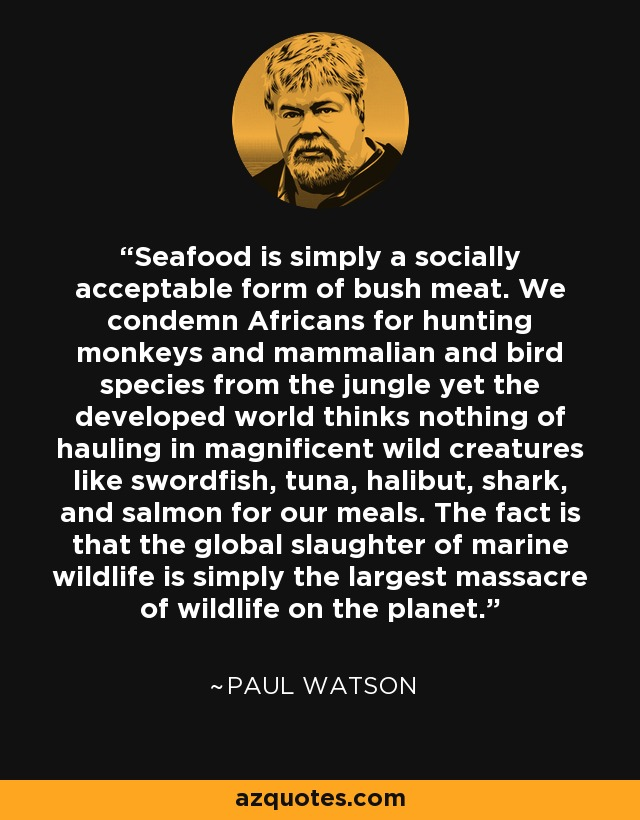 Seafood is simply a socially acceptable form of bush meat. We condemn Africans for hunting monkeys and mammalian and bird species from the jungle yet the developed world thinks nothing of hauling in magnificent wild creatures like swordfish, tuna, halibut, shark, and salmon for our meals. The fact is that the global slaughter of marine wildlife is simply the largest massacre of wildlife on the planet. - Paul Watson