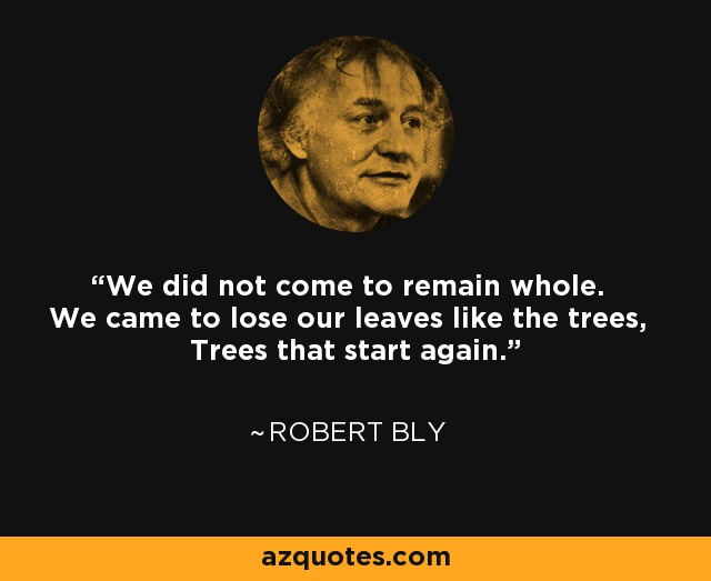 We did not come to remain whole. We came to lose our leaves like the trees, Trees that start again. - Robert Bly