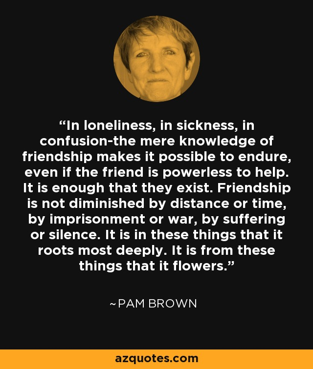 In loneliness, in sickness, in confusion-the mere knowledge of friendship makes it possible to endure, even if the friend is powerless to help. It is enough that they exist. Friendship is not diminished by distance or time, by imprisonment or war, by suffering or silence. It is in these things that it roots most deeply. It is from these things that it flowers. - Pam Brown