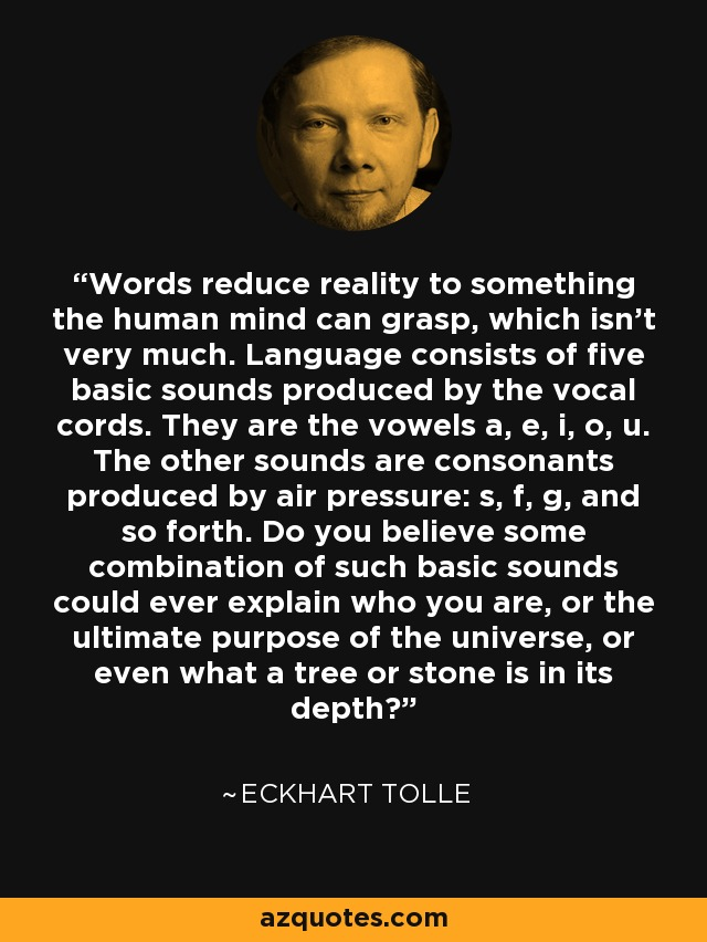 Words reduce reality to something the human mind can grasp, which isn't very much. Language consists of five basic sounds produced by the vocal cords. They are the vowels a, e, i, o, u. The other sounds are consonants produced by air pressure: s, f, g, and so forth. Do you believe some combination of such basic sounds could ever explain who you are, or the ultimate purpose of the universe, or even what a tree or stone is in its depth? - Eckhart Tolle