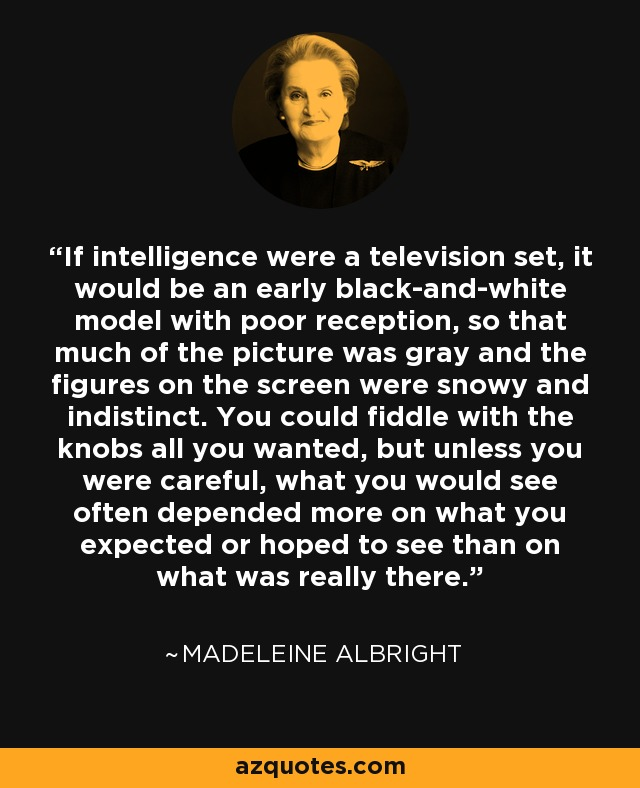 If intelligence were a television set, it would be an early black-and-white model with poor reception, so that much of the picture was gray and the figures on the screen were snowy and indistinct. You could fiddle with the knobs all you wanted, but unless you were careful, what you would see often depended more on what you expected or hoped to see than on what was really there. - Madeleine Albright