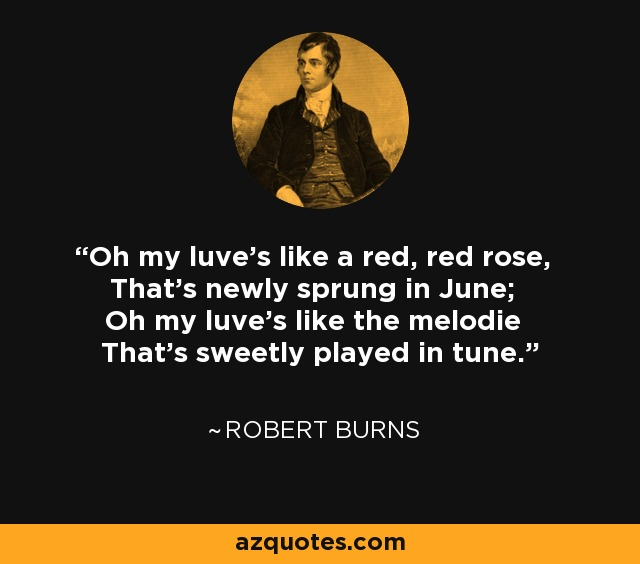 Oh my luve's like a red, red rose, That's newly sprung in June; Oh my luve's like the melodie That's sweetly played in tune. - Robert Burns