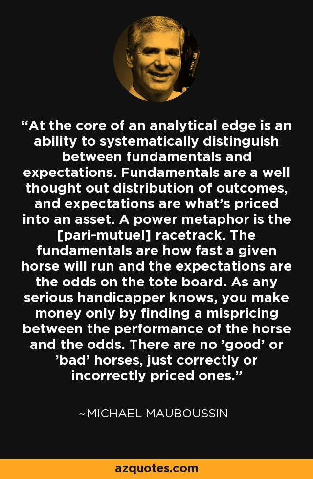 At the core of an analytical edge is an ability to systematically distinguish between fundamentals and expectations. Fundamentals are a well thought out distribution of outcomes, and expectations are what's priced into an asset. A power metaphor is the [pari-mutuel] racetrack. The fundamentals are how fast a given horse will run and the expectations are the odds on the tote board. As any serious handicapper knows, you make money only by finding a mispricing between the performance of the horse and the odds. There are no 'good' or 'bad' horses, just correctly or incorrectly priced ones. - Michael Mauboussin