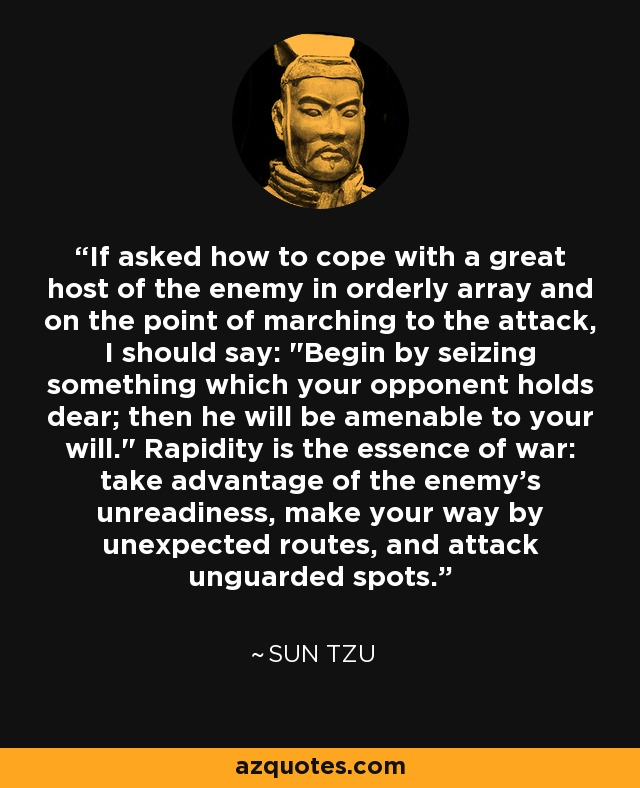 If asked how to cope with a great host of the enemy in orderly array and on the point of marching to the attack, I should say: