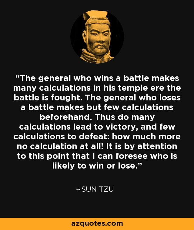 The general who wins a battle makes many calculations in his temple ere the battle is fought. The general who loses a battle makes but few calculations beforehand. Thus do many calculations lead to victory, and few calculations to defeat: how much more no calculation at all! It is by attention to this point that I can foresee who is likely to win or lose. - Sun Tzu