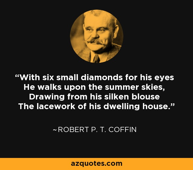 With six small diamonds for his eyes He walks upon the summer skies, Drawing from his silken blouse The lacework of his dwelling house. - Robert P. T. Coffin