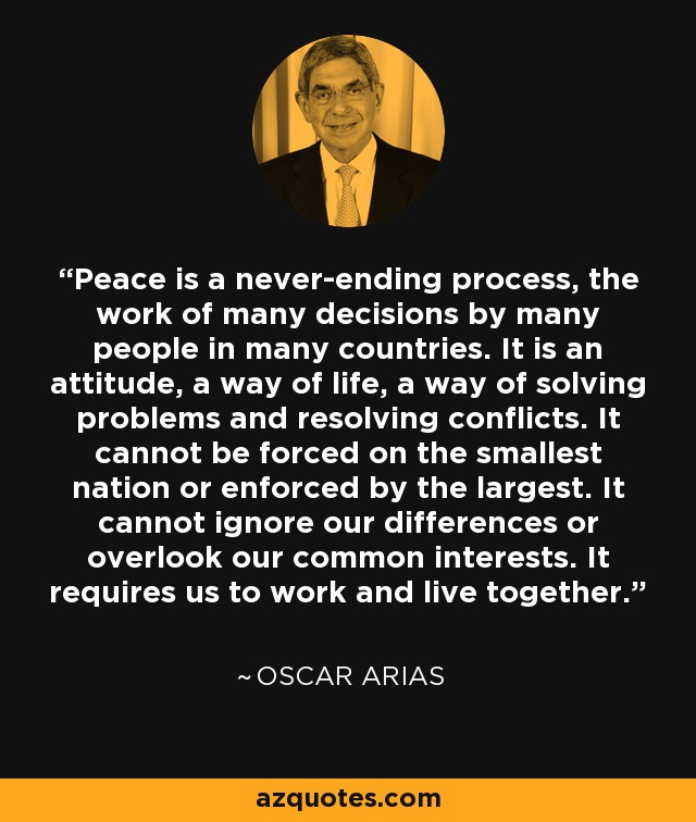 """peace is never ending process The never-ending peace process farce by isi leibler unless the us is willing to bite the bullet and finally confront mahmoud abbas and the palestinian authority, the mission to the region by us representatives jared kushner and jason greenblatt to """"restart the peace process"""" on behalf of president donald trump may prove to be highly ."""