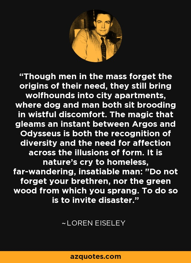 Though men in the mass forget the origins of their need, they still bring wolfhounds into city apartments, where dog and man both sit brooding in wistful discomfort. The magic that gleams an instant between Argos and Odysseus is both the recognition of diversity and the need for affection across the illusions of form. It is nature's cry to homeless, far-wandering, insatiable man: