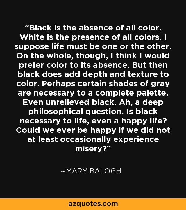 Black Is The Absence Of All Color White Presence Colors
