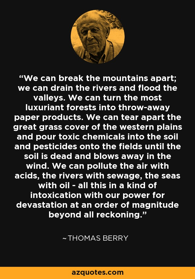 We can break the mountains apart; we can drain the rivers and flood the valleys. We can turn the most luxuriant forests into throw-away paper products. We can tear apart the great grass cover of the western plains and pour toxic chemicals into the soil and pesticides onto the fields until the soil is dead and blows away in the wind. We can pollute the air with acids, the rivers with sewage, the seas with oil - all this in a kind of intoxication with our power for devastation at an order of magnitude beyond all reckoning. - Thomas Berry