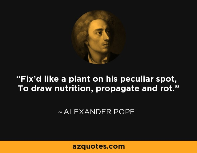 Fix'd like a plant on his peculiar spot, To draw nutrition, propagate and rot. - Alexander Pope