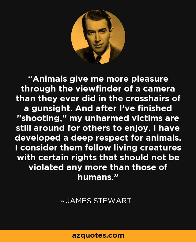 Animals give me more pleasure through the viewfinder of a camera than they ever did in the crosshairs of a gunsight. And after I've finished