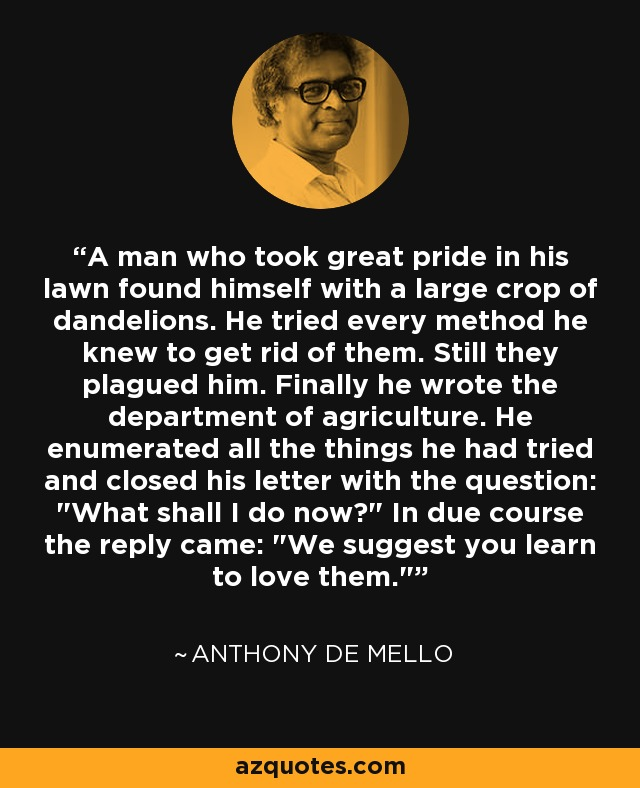A man who took great pride in his lawn found himself with a large crop of dandelions. He tried every method he knew to get rid of them. Still they plagued him. Finally he wrote the department of agriculture. He enumerated all the things he had tried and closed his letter with the question: