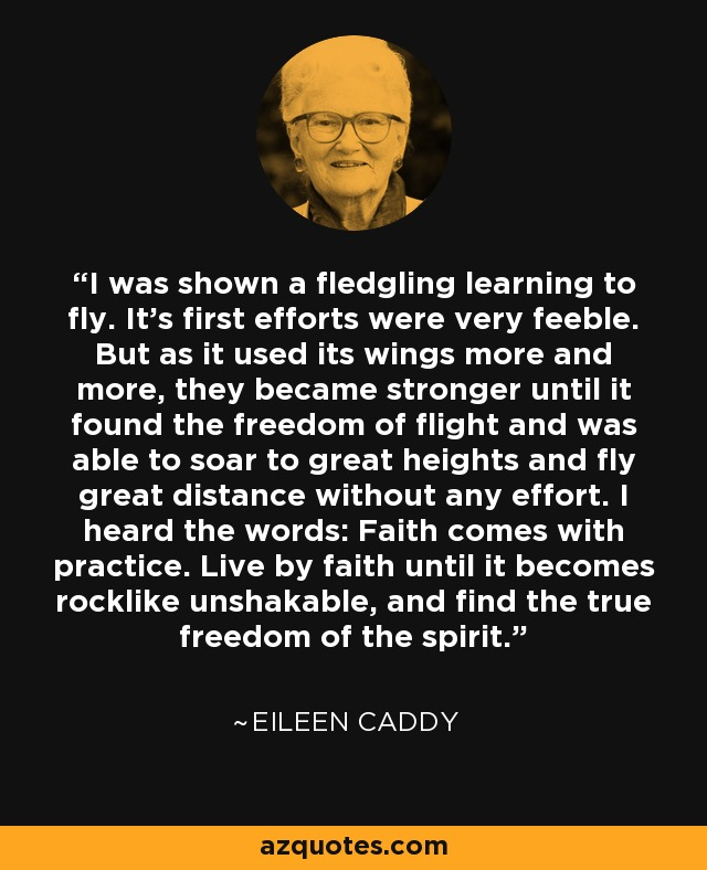 I was shown a fledgling learning to fly. It's first efforts were very feeble. But as it used its wings more and more, they became stronger until it found the freedom of flight and was able to soar to great heights and fly great distance without any effort. I heard the words: Faith comes with practice. Live by faith until it becomes rocklike unshakable, and find the true freedom of the spirit. - Eileen Caddy