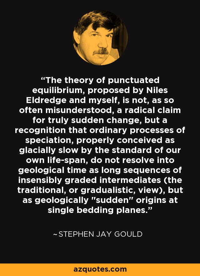 The theory of punctuated equilibrium, proposed by Niles Eldredge and myself, is not, as so often misunderstood, a radical claim for truly sudden change, but a recognition that ordinary processes of speciation, properly conceived as glacially slow by the standard of our own life-span, do not resolve into geological time as long sequences of insensibly graded intermediates (the traditional, or gradualistic, view), but as geologically