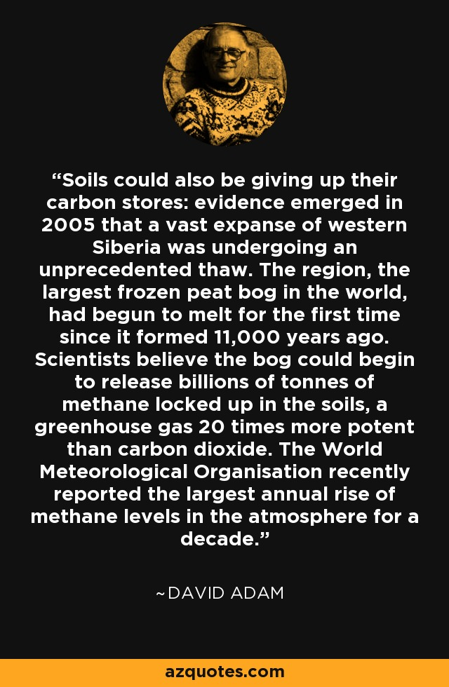 Soils could also be giving up their carbon stores: evidence emerged in 2005 that a vast expanse of western Siberia was undergoing an unprecedented thaw. The region, the largest frozen peat bog in the world, had begun to melt for the first time since it formed 11,000 years ago. Scientists believe the bog could begin to release billions of tonnes of methane locked up in the soils, a greenhouse gas 20 times more potent than carbon dioxide. The World Meteorological Organisation recently reported the largest annual rise of methane levels in the atmosphere for a decade. - David Adam