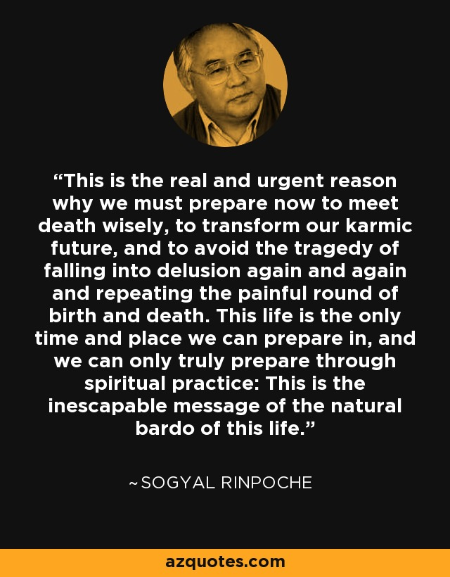 This is the real and urgent reason why we must prepare now to meet death wisely, to transform our karmic future, and to avoid the tragedy of falling into delusion again and again and repeating the painful round of birth and death. This life is the only time and place we can prepare in, and we can only truly prepare through spiritual practice: This is the inescapable message of the natural bardo of this life. - Sogyal Rinpoche