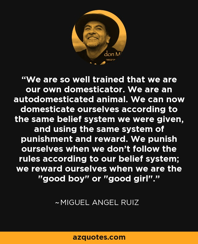 We are so well trained that we are our own domesticator. We are an autodomesticated animal. We can now domesticate ourselves according to the same belief system we were given, and using the same system of punishment and reward. We punish ourselves when we don't follow the rules according to our belief system; we reward ourselves when we are the