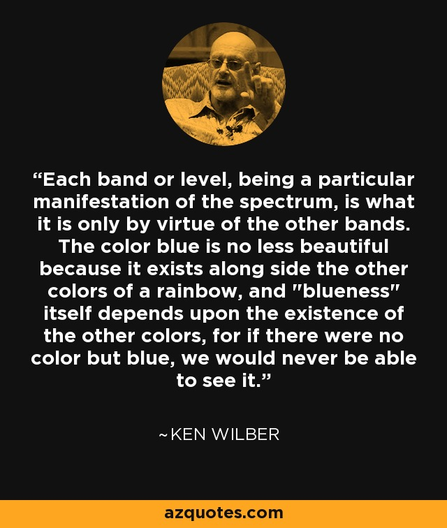 Each band or level, being a particular manifestation of the spectrum, is what it is only by virtue of the other bands. The color blue is no less beautiful because it exists along side the other colors of a rainbow, and