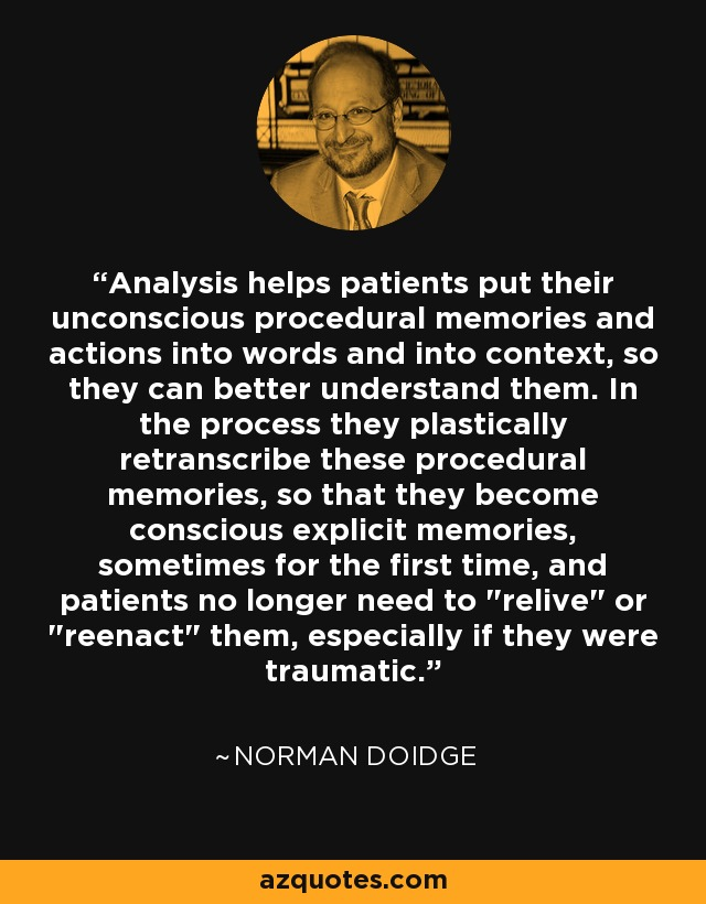 Analysis helps patients put their unconscious procedural memories and actions into words and into context, so they can better understand them. In the process they plastically retranscribe these procedural memories, so that they become conscious explicit memories, sometimes for the first time, and patients no longer need to