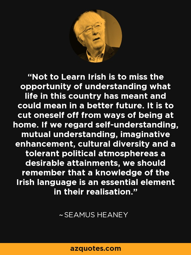Not to Learn Irish is to miss the opportunity of understanding what life in this country has meant and could mean in a better future. It is to cut oneself off from ways of being at home. If we regard self-understanding, mutual understanding, imaginative enhancement, cultural diversity and a tolerant political atmosphereas a desirable attainments, we should remember that a knowledge of the Irish language is an essential element in their realisation. - Seamus Heaney