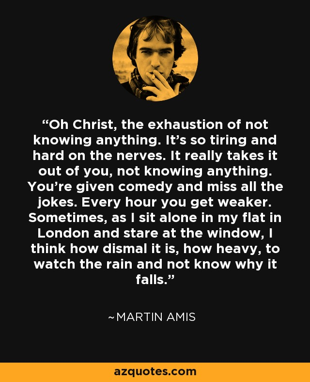 Oh Christ, the exhaustion of not knowing anything. It's so tiring and hard on the nerves. It really takes it out of you, not knowing anything. You're given comedy and miss all the jokes. Every hour you get weaker. Sometimes, as I sit alone in my flat in London and stare at the window, I think how dismal it is, how heavy, to watch the rain and not know why it falls. - Martin Amis