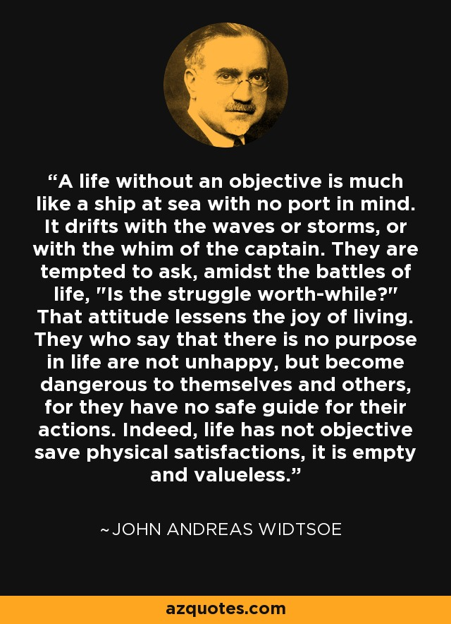 A life without an objective is much like a ship at sea with no port in mind. It drifts with the waves or storms, or with the whim of the captain. They are tempted to ask, amidst the battles of life,