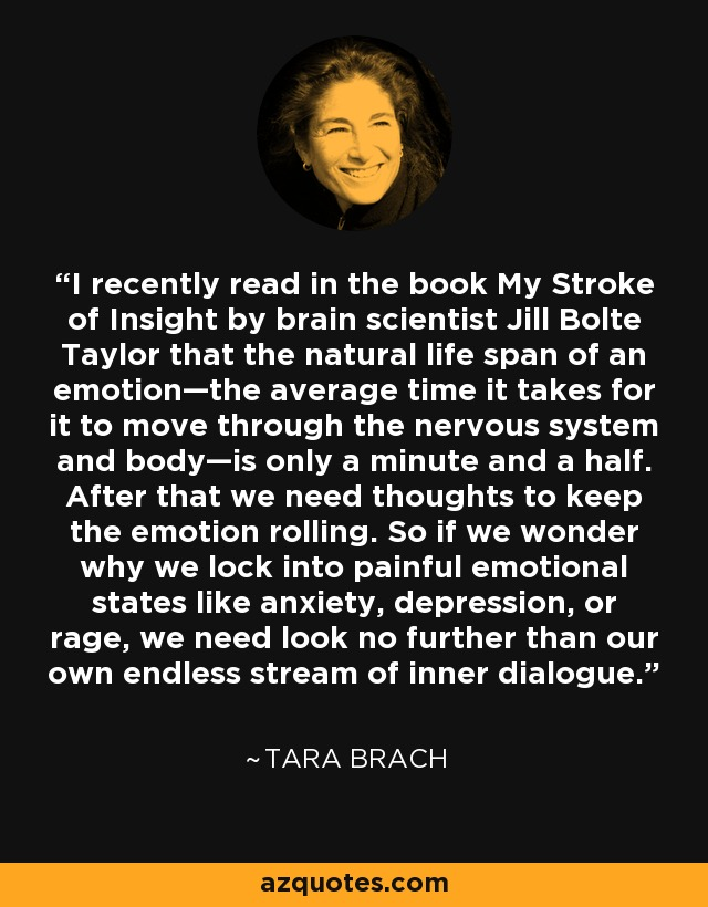I recently read in the book My Stroke of Insight by brain scientist Jill Bolte Taylor that the natural life span of an emotion—the average time it takes for it to move through the nervous system and body—is only a minute and a half. After that we need thoughts to keep the emotion rolling. So if we wonder why we lock into painful emotional states like anxiety, depression, or rage, we need look no further than our own endless stream of inner dialogue. - Tara Brach