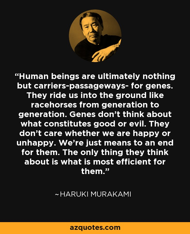 Human beings are ultimately nothing but carriers-passageways- for genes. They ride us into the ground like racehorses from generation to generation. Genes don't think about what constitutes good or evil. They don't care whether we are happy or unhappy. We're just means to an end for them. The only thing they think about is what is most efficient for them. - Haruki Murakami