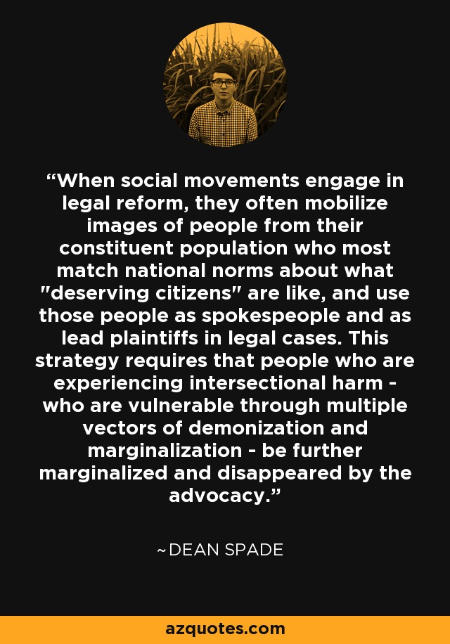 When social movements engage in legal reform, they often mobilize images of people from their constituent population who most match national norms about what