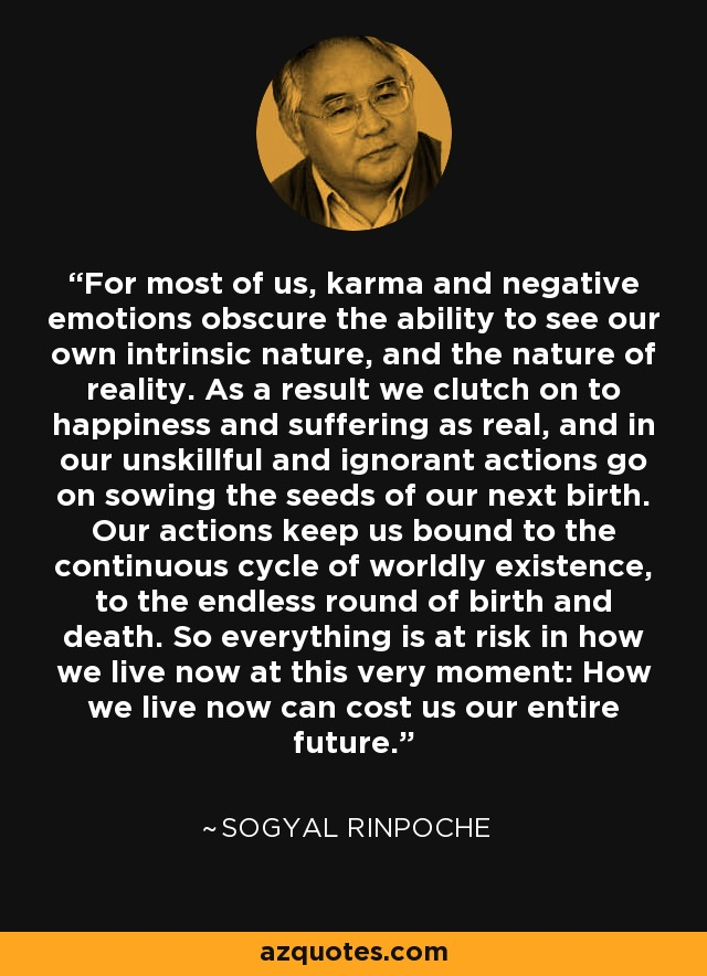 For most of us, karma and negative emotions obscure the ability to see our own intrinsic nature, and the nature of reality. As a result we clutch on to happiness and suffering as real, and in our unskillful and ignorant actions go on sowing the seeds of our next birth. Our actions keep us bound to the continuous cycle of worldly existence, to the endless round of birth and death. So everything is at risk in how we live now at this very moment: How we live now can cost us our entire future. - Sogyal Rinpoche