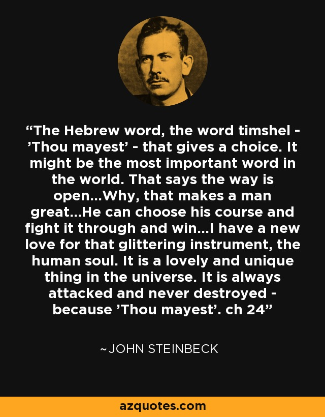 The Hebrew word, the word timshel - 'Thou mayest' - that gives a choice. It might be the most important word in the world. That says the way is open...Why, that makes a man great...He can choose his course and fight it through and win...I have a new love for that glittering instrument, the human soul. It is a lovely and unique thing in the universe. It is always attacked and never destroyed - because 'Thou mayest'. ch 24 - John Steinbeck