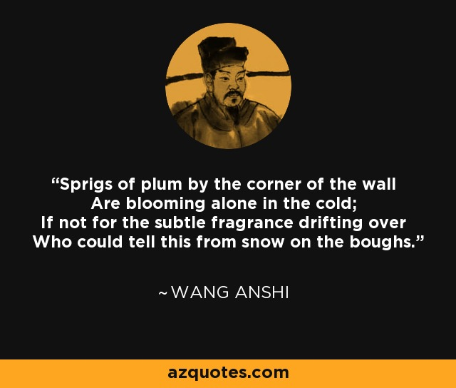 Sprigs of plum by the corner of the wall Are blooming alone in the cold; If not for the subtle fragrance drifting over Who could tell this from snow on the boughs. - Wang Anshi