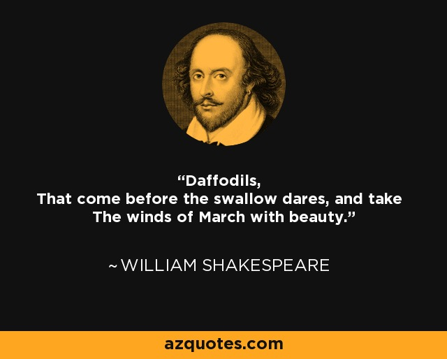 Daffodils, That come before the swallow dares, and take The winds of March with beauty. - William Shakespeare