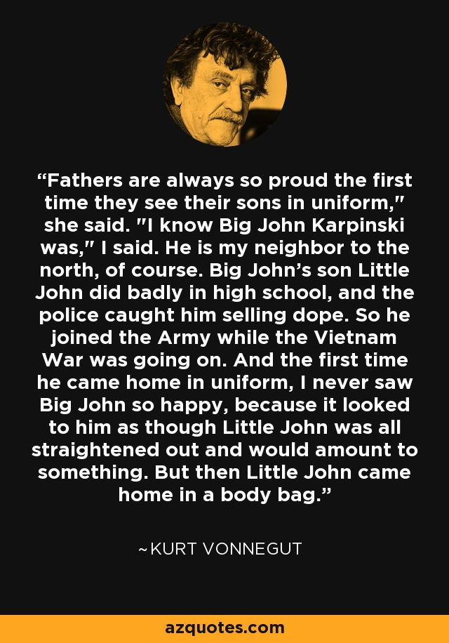 Fathers are always so proud the first time they see their sons in uniform,