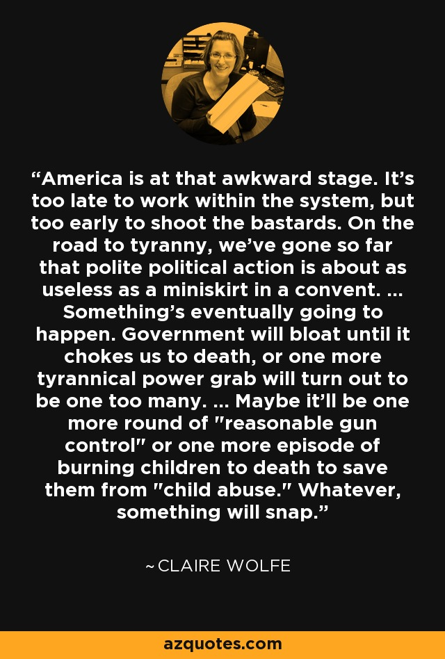 America is at that awkward stage. It's too late to work within the system, but too early to shoot the bastards. On the road to tyranny, we've gone so far that polite political action is about as useless as a miniskirt in a convent. ... Something's eventually going to happen. Government will bloat until it chokes us to death, or one more tyrannical power grab will turn out to be one too many. ... Maybe it'll be one more round of