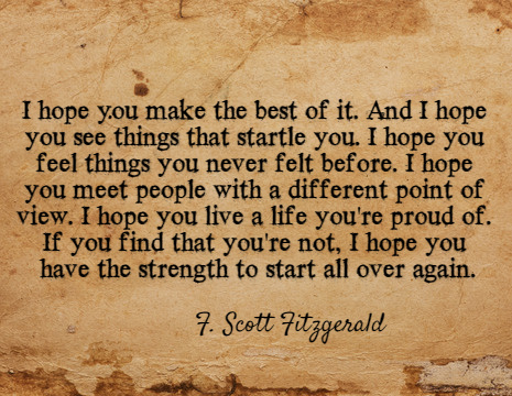 F Scott Fitzgerald Picture Quote I Hope You Make The Best Of It
