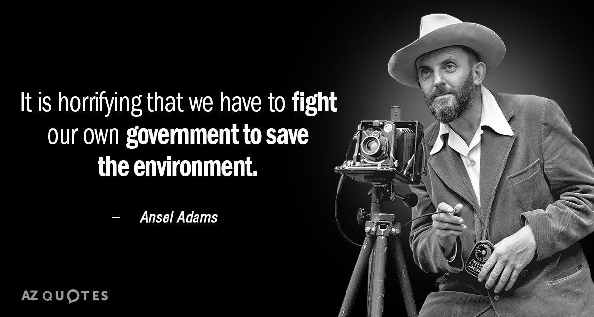 Ansel Adams quote: It is horrifying that we have to fight our own government to save...